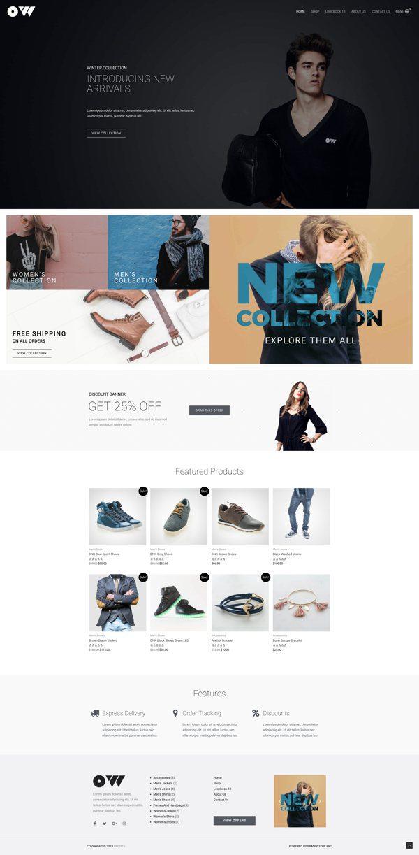 Готовый сайт. Магазин одежды и обуви