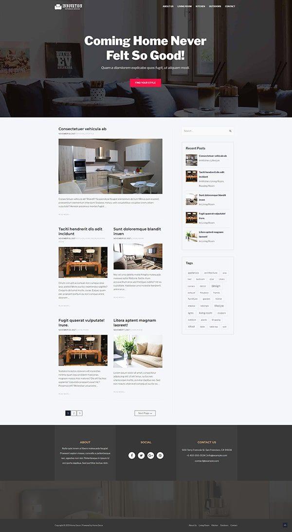Готовый сайт. Дизайн, интерьер