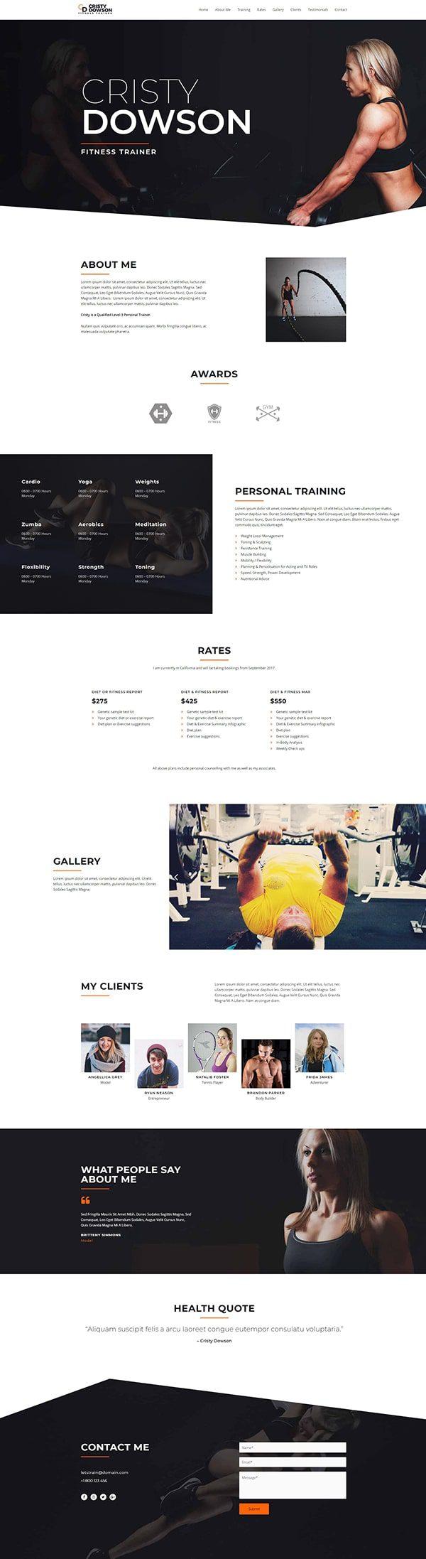 Готовый сайт. Фитнес тренер