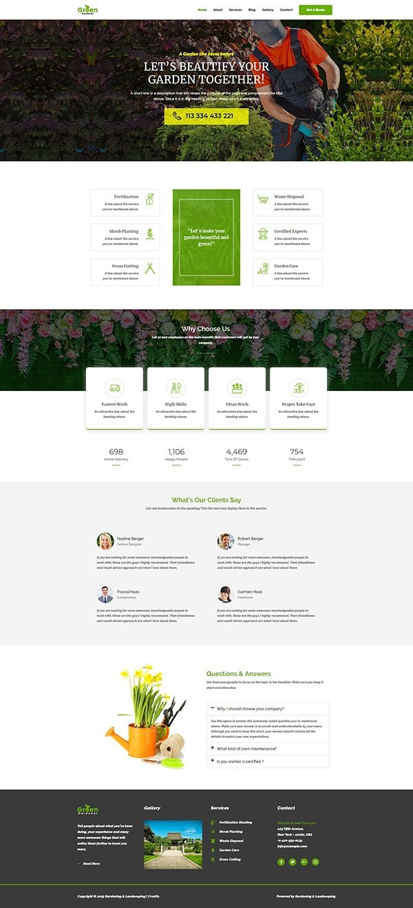 Готовый сайт. Ландшафтный дизайн