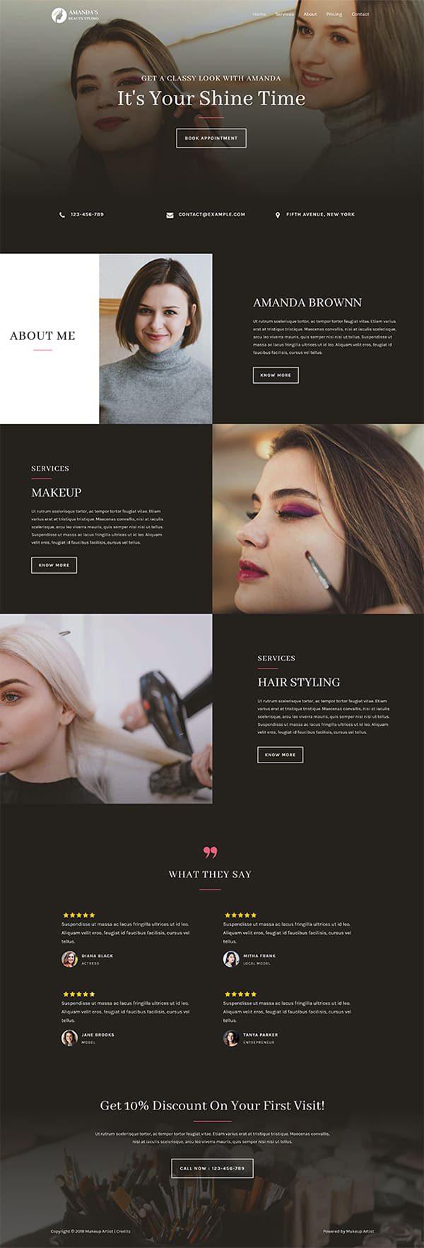 Готовый сайт. Визажист, стилист, салон красоты, парикмахерская