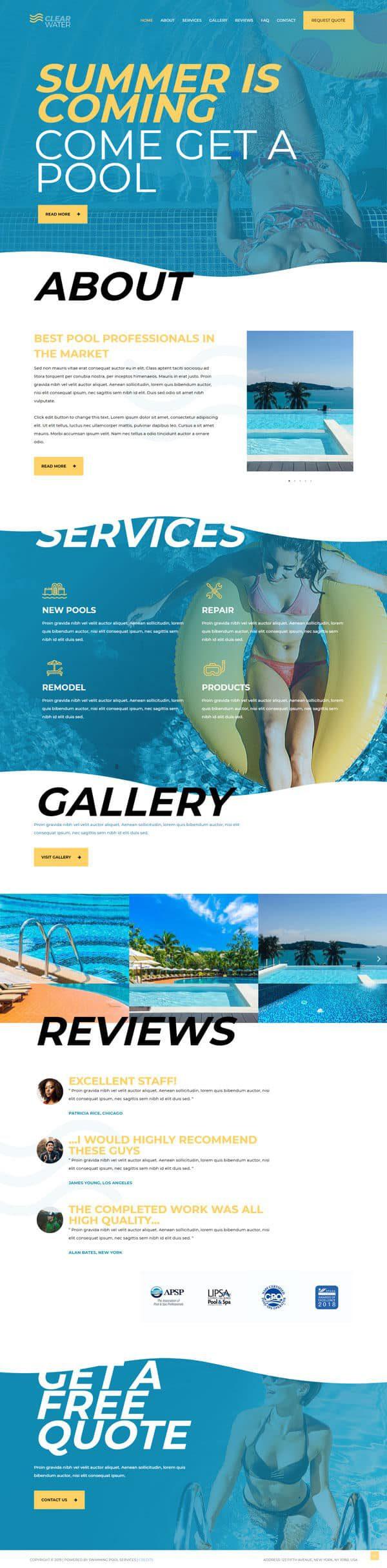 Готовый сайт. Отель, продажа и обслуживание бассейнов